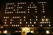 Lighted dorm windows