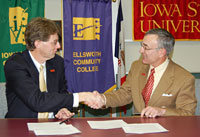 Iowa Valley Comm. College Chancellor Tim Wynes and ISU President Gregory Geoffroy