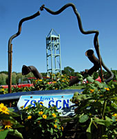 Flower abloom amid car parts