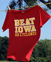 'Beat Iowa' T-shirt on clothesline