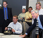 Reps. Tom Latham, R-Iowa, and John Boehner, R-Ohio, visit the Virtual Reality Applications Center