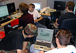 High school students work their computers