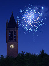 Fireworks over campanile