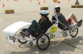 Le Tigre, Iowa State's human powered vehicle, on the track in Madison, Wis.