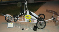 Iowa State's human powered vehicle and the nine awards the team brought back to campus.