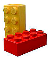 Red and yellow LEGO bricks.