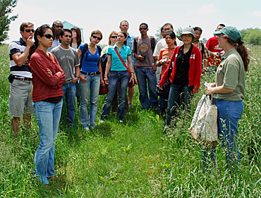 Students in Iowa State University's first Intensive Program in Biorenewables learn about riparian buffer strips during a visit to a central Iowa farm.