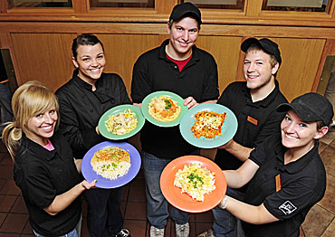 Culinary science students proudly display the dishes they prepared for diners this week in the Union Drive Marketplace.