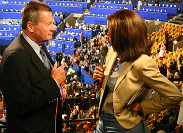 Steffen Schmidt (left) works the Democratic National Convention as a political analyst for CNN en Español.  Courtesy CNN
