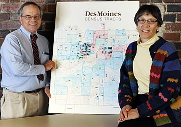 Daniel Russell and Carolyn Cutrona have been tracking Iowa subjects from their  Family and Community Health Study on a large map.