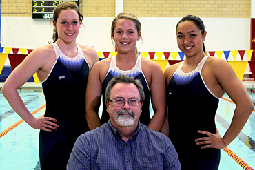 Iowa State kinesiology professor Rick Sharp called upon Cyclone swimmers (L to R) Amanda Paulson, Bri Carlberg and Imelda Wistey to test out Speedo's new Fastskin®3 Racing System.
