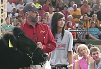 President Leath shows a steer