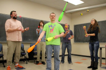 Students learn to juggle in math class