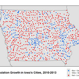 Map of population changes in Iowa