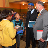 ISU 4U Promise President Leath with students