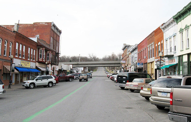 Business district in Columbus Junction