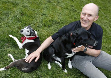 Dave Swenson and his dogs Daisy and Angus