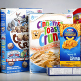 Boxes of cereal and food items with artificial ingredients