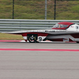 Team PrISUm's solar racing car on track in Austin, Texas
