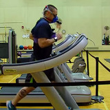 Study participant running on treadmill