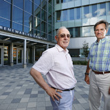 Brent Shanks and Basil Nikolau, leaders of CBiRC, in front of Iowa State's Biorenewables Complex