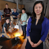 Ran Dai and her research group in her Howe Hall lab.