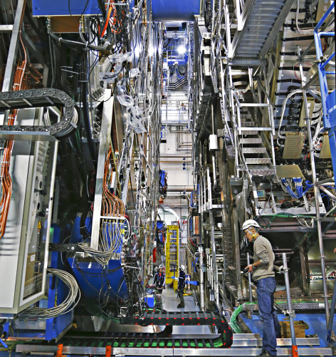 Technicians upgrade the ATLAS Experiment for the second run of the Large Hadron Collider.