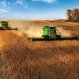 John Deere combines during harvest