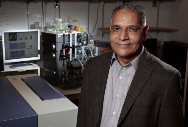 Ravindra Singh in his laboratory at Iowa State University