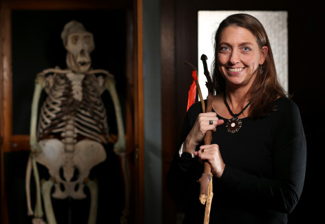 Anthropology Professor Jill Pruetz with chimp hunting spears