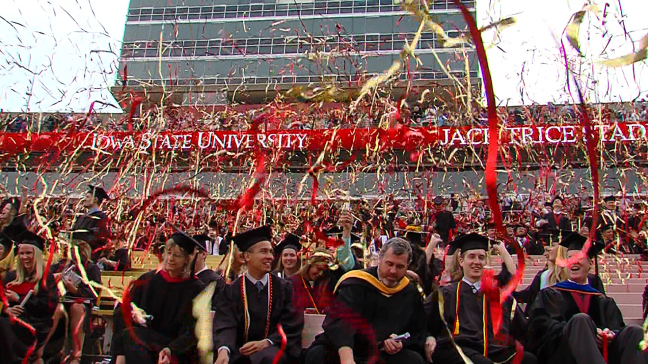 Iowa State's spring 2016 commencement ceremony in Jack Trice Stadium