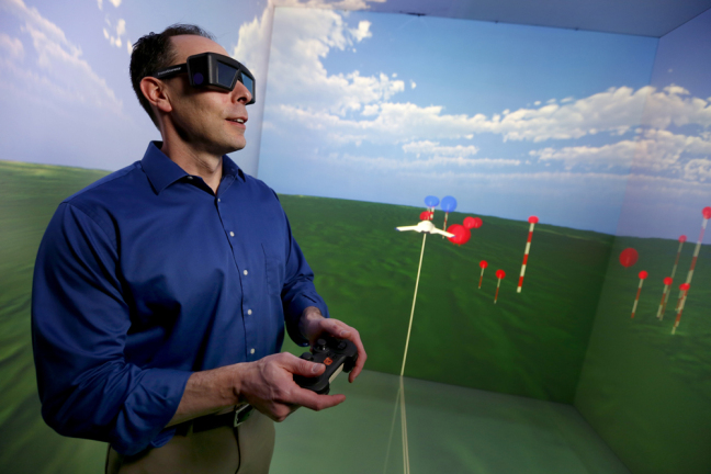 Eliot Winer in Iowa State's C6 virtual reality lab
