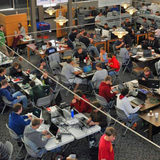 Students compete during an Iowa State Cyber Defense Competition.