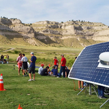 Team PrISUm charging its solar car at Scotts Bluff National Monument in Nebraska.
