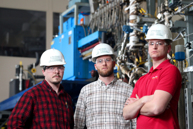 The three lead engineers of an ISU-Chevron biofuels pilot plant