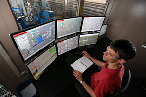Inside the control room of the Iowa State-Chevron pilot plant