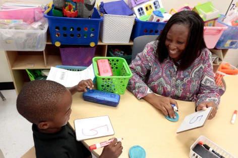ISU prof. Christa Jackson working with Moulton student on math skills