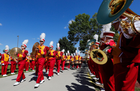 Cyclone Marching Band entering the stadium