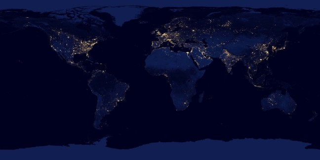 NASA image of cities across the globe lit up at night