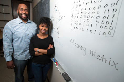 Michael Young and Shanise Walker in classroom