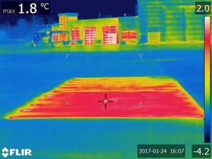 Thermal images of the heated airport pavements.