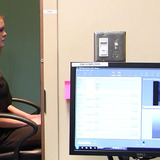 Student participating in eye-tracking study