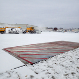 Two slabs of heated pavements at the Des Moines International Airport