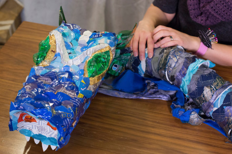 Dragon puppet made from recycled plastic containers