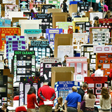 The State Science & Technology Fair of Iowa fills the floor of Hilton Coliseum.