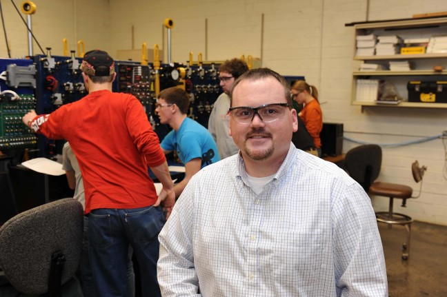 Matt Darr in an ISU ag & biosystems engineering lab