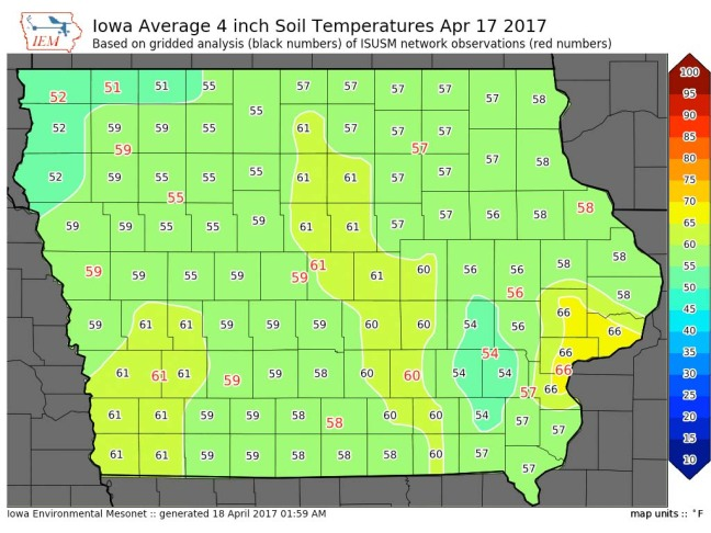 A county-by-county map of Iowa depcting recent soil temperatures