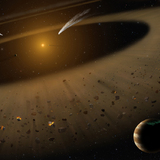 An artist's illustration of the nearby start epsilon Eridani and its disk structure that's very similar to our solar system.