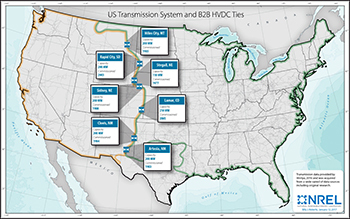 A U.S. map showing the country's three primary power grids and the small connections between them.