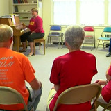 Clients singing in Parkinson's music therapy class